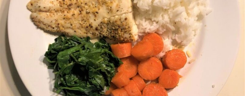 Cod, sweet potatoes, carrots, spinach, and Jasmine rice