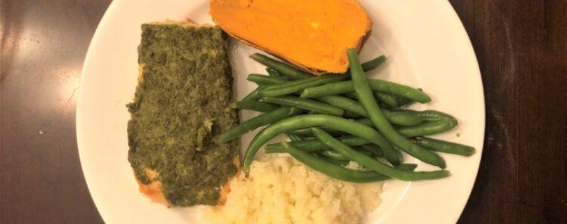 Pesto Salmon,Sweet Potatoes, Smashed Cauliflower, and green beans